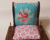 Pincushion rocking chair vintage redone pink and blue polka dots floral