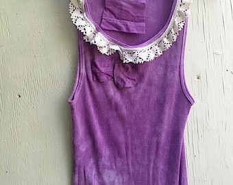 summer grape boho lilac purple gypsy Sleeveless Tshirt Eco Friendly Bohemian boho bridesmaid gift lace Gift for Her tank top