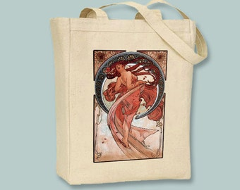 """Alphonse Mucha's """"Dance"""" Illustraton - Black or Natural Canvas Tote -- other bag sizes available"""