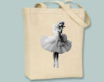 Ballerina Ballet Dancer Vintage Black and White Image on Canvas Tote -- Selection of sizes available