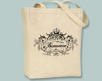 Vintage Frame Bienvenue Welcome TypographyCanvas Tote - Selection of sizes, ANY COLOR image