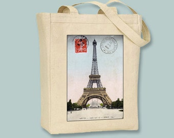Vintage Stamped Postcard of Paris and Eiffel Tower on Natural or Black Canvas Tote -- Selection of  sizes available