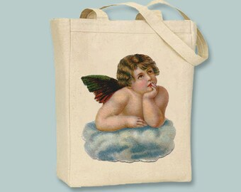 Vintage Angel Cherub Natural or Black Canvas Tote - Selection of sizes available