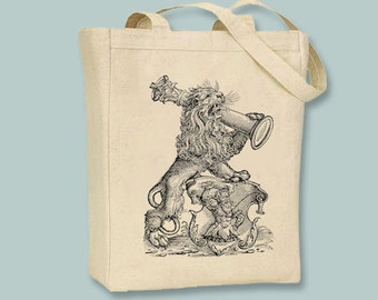 Majestic Victory Lion Vintage Illustration Canvas Tote -- Selection of sizes available, image in ANY COLOR
