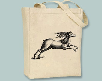 Awesome Ancient Reindeer Engraving Canvas Tote --  Selection of sizes available, Image in ANY COLOR