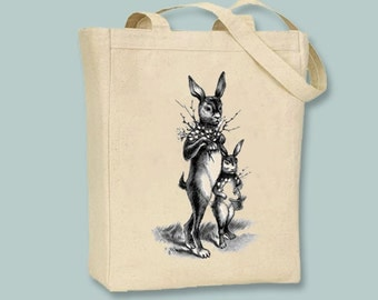Mother and Child Bunny Rabbit Tote  -- Selection of sizes available, image IN ANY COLOR