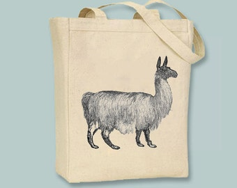 Lovely Vintage Llama Illustration Canvas Tote  - Selection of sizes available
