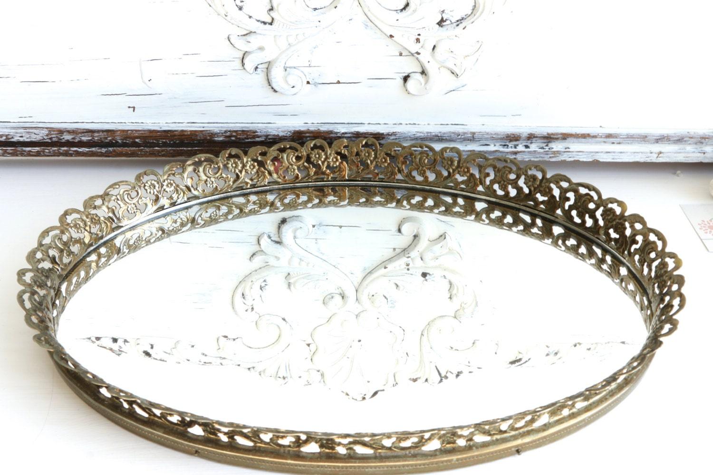 vintage gold filigree vanity mirror tray by bohemianlil on etsy. Black Bedroom Furniture Sets. Home Design Ideas