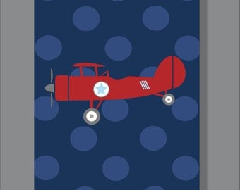 Vintage Airplane, Boy's Room Decor, Airplane Decor- Print