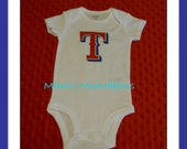 "Toddler /  ""T is for Texas""  (like the Ranger logo) Bodysuit / 18 months / ready to ship"