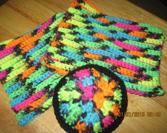"""Set of 3 Crocheted Blacklight Face Wash Cloths and Face """"PUFF"""" Scrubber  ....Black & Neon Colors...1568H"""