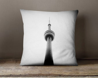 Toronto Pillow CN Tower Minimalist Black and White Home Decor - Canadian Modern Decor - 16x16 or 20x20 Decorative Throw Pillow Cover