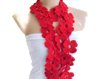 Red scarf with crochet flower patterns, Lariat scarf , hand-made,fashion,gift, mothers day,unique