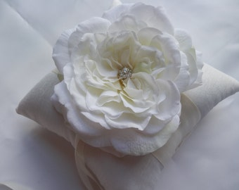 Ring Bearer PIllow - Ivory Rose Flower Wedding Ring PIllow