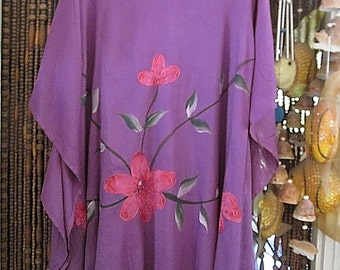 Embroidered & Sequined Hand-Painted Caftan Tunic, Vintage - Medium to Large