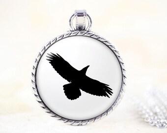 Raven Necklace - Soaring Bird Jewelry, Black Bird Pendant, Silver Crow Raven Jewelry, Silver Bird Necklace, Bird Silhouette Jewelry Pendant