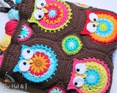 CROCHET PATTERN - Owl Tote'em - a colorful owl crochet tote pattern, crochet bag pattern, purse pattern with owls - Instant PDF Download
