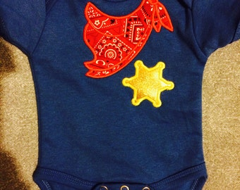 Cowboy onesie with bandana applique