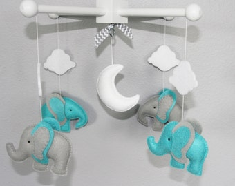 Baby Crib Mobile- Elephants Mobile-grey and turquoise elephants Mobile-custom Made Mobile