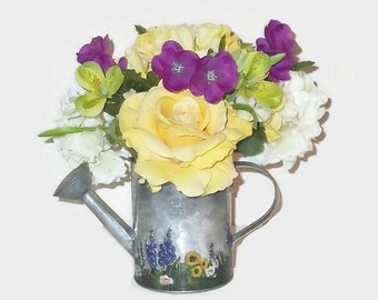 Spring Florals, Spring Arrangement, Home Decor, Assorted Flowers, Water Can
