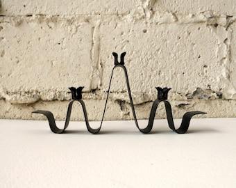 Vintage Metal Candleholder, Wavy Black Mid Century Modern Design Three Candle Taper Candle Holder