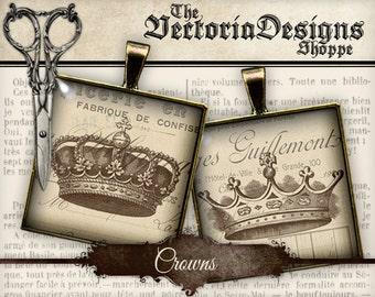 Crowns Images - 1.5 inch square / 1 inch square / Scrabble Tile - VDSQHA0098