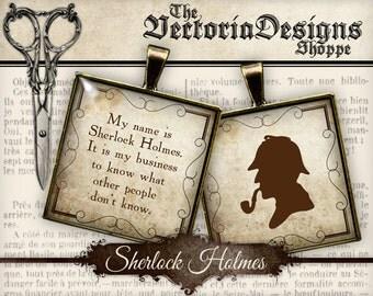 Sherlock Holmes Images Detective Printable - 1.5 inch square / 1 inch square / Scrabble Tile - Instant download digital download VDSQVI0100