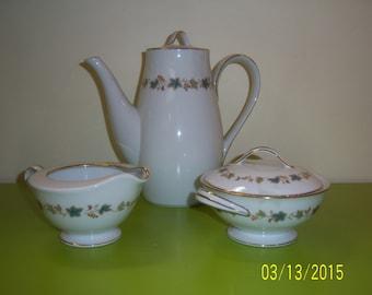NORITAKE Japan Goldvine Pattern Coffe Pot -  Noritake Sugar and Creamer Set -  Noritake Tea Pot -  Noritake Chocolate Pot -  Japan