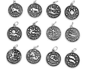 12 Antiqued Silver Metal ZODIAC SIGN Charm Pendants, 1 of each design,  chs1536