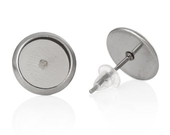 30 (15 pairs) stainless steel cabochon bezel setting earring post components, blanks fits 6mm round inside bezel  fin0362