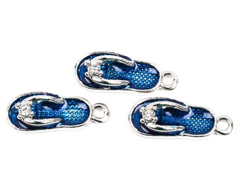 10 Silver Tone and Blue Enamel and Rhinestone FLIP FLOP Shoes Charm Pendants  23x9mm  che0466