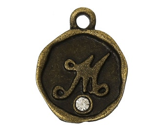 "4 pcs Letter M Monogram Wax Seal Bronze Charm Tags, with crystal rhinestone, 3/8""  chb0336"