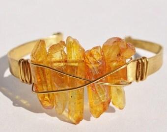 The Power of Three Yellow Quartz Cuff Bracelet Boho Brass Festival Fashion Coachella sxsw choose your color