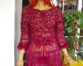 dress in cherry red boho handmade knitted sparkle mini dress with faux fur ready to ship women clothing gift idea for her by goldenyarn