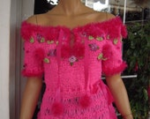 Top in hot pink handmade knitted romantic knitted top gift idea for young women/off shoulder bardot top by goldenyarn