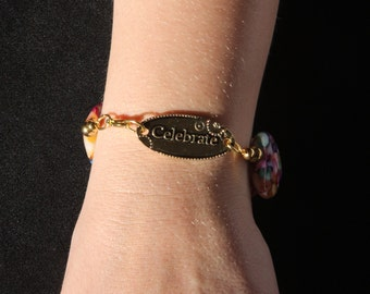 Inspirational word charm beaded bracelet, 8 inches