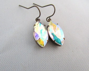 multi colored rainbow Antique Brass marquise drop dangle earrings