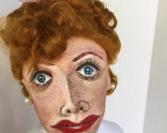 LUCILLE BALL A Handmade Hand Painted Cloth Art Doll OOAK