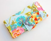 Women's Bifold Wallet - Smart Phone Clutch - Wristlet Option - Slim Wallet - Art Gallery Garden Rocket Turquoise - Made to Order