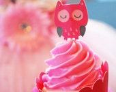 Owl Cupcake Toppers In your choice of color Qty 12