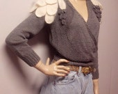 Gorgeous Criss Cross Sweater with Angora Shoulder leafs Vtg 80's Sz  Small