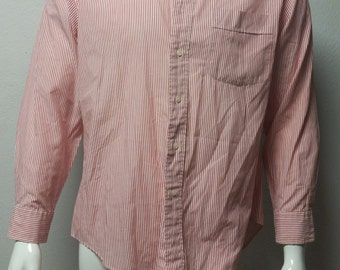 Vintage 80's Mens Yves Saint Laurent seersucker red and white  long sleeve Shirt  Sz 16 1/2