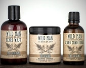 Beard Grooming Luxury Gift Set - Full Size - Beard Oil Conditioner, Wash and Cream - For Him