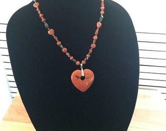 50 % SALE-Copper Heart Pendant Necklace/Unisex Copper Heart/necklace/womens copper heart/mens copper heart/necklace copper hematite necklace