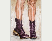 Original Figure Boots Body Abstract Art Modern Painting  oil on canvas Thick texture Home decor