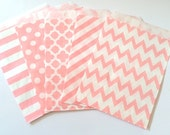 Light Pink Party Favor Bags 5x7 PINK Paper Treat Bags Candy Buffet Party Favor Wedding Favor Bags Goodie Bags Popcorn Bakery Bags- 20 count
