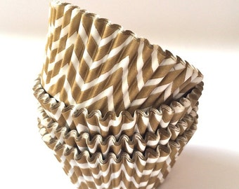 Gold cupcake liners Chevron cupcake liners 50 count baking cups muffin cups standard size grease proof cupcake cups cupcake wrappers