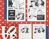 Fun Black and White Comic Strip Wedding Invitation Set of 4 - Printable Template