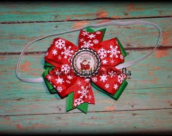 Baby Christmas hair bow or headband, Santas favorite bow, Santa hair bow, red white and green, Baby Christmas headband