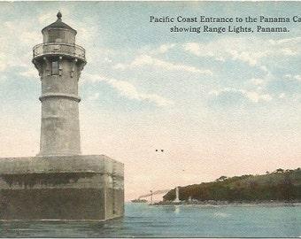 Pacific Coast Entrance to the Panama Canal Range Lights Panama Antique Postcard 1913 Curt Teich